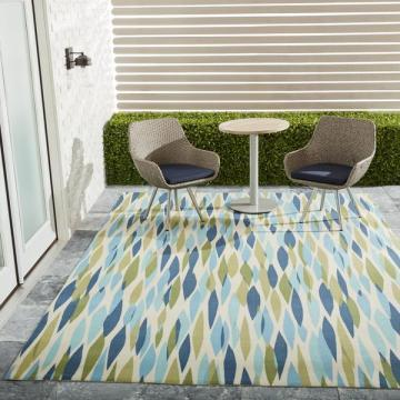 Nourison Waverly Sun N' Shade Bits & Pieces Seaglass Area Rug (7'9 x 10'10)
