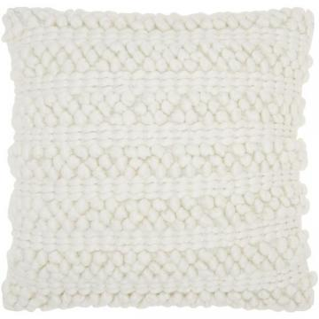 Nourison Mina Victory Lifestyle Woven Stripes White Throw Pillow (20 x 20-inch)