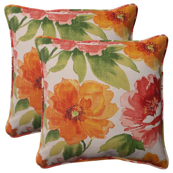 Pillow Perfect Orange Outdoor Primro Corded 18.5-inch Throw Pillow (Set of 2)