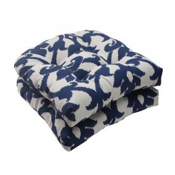 Pillow Perfect Bosco Polyester Navy Tufted Outdoor Wicker Seat Cushions (Set of