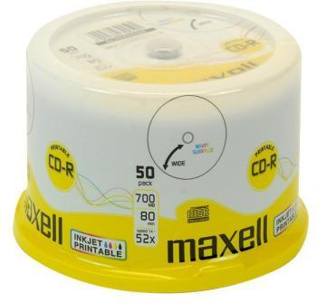 Maxell 52x Speed Printable CD-R Blank CDs - Spindle Pack of 50