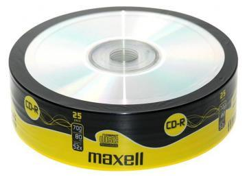 Maxell 52x Speed CD-R Blank CDs, Shrink-wrapped - Pack of 25