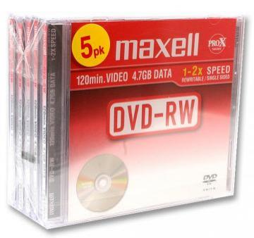Maxell 2x Speed DVD-RW Blank DVDs in Jewel Cases - Pack of 5