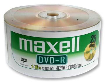 Maxell 16x Speed Shrink-wrapped DVD-R Blank DVDs - Pack of 25