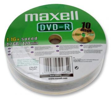 Maxell 16x Speed Shrink-wrapped DVD-R Blank DVDs - Pack of 10