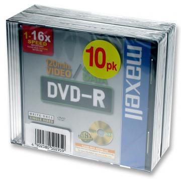 Maxell 16x Speed DVD-R Blank DVDs in Jewel Cases - Pack of 10