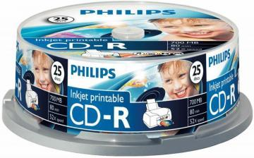 Philips Inkjet Printable CD-R Blank CDs - Spindle 25 Pack