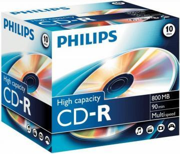 Philips High Capacity CD-R Blank CDs 800MB - Jewel Case 10 Pack