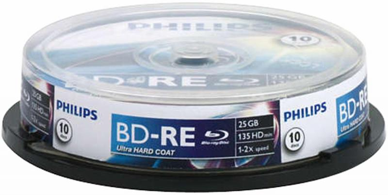 Philips 6x Speed BD-RE Rewritable Blank Blu-ray Discs - Spindle 10 Pack