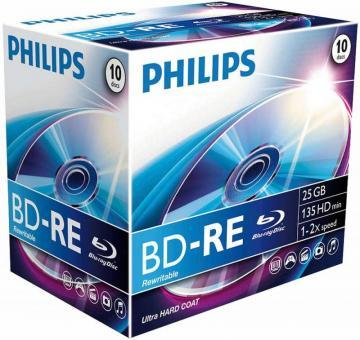 Philips 6x Speed BD-RE Rewritable Blank Blu-ray Discs - Jewel Case 10 Pack