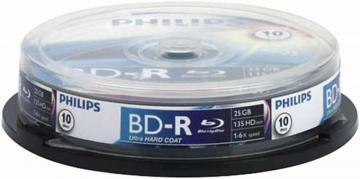 Philips 6x Speed BD-R Recordable Blank Blu-ray Discs - Spindle 10 Pack