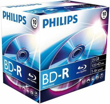 Philips 6x Speed BD-R Recordable Blank Blu-ray Discs - Jewel Case 10 Pack