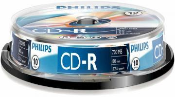 Philips 52x Speed CD-R Blank CDs - Spindle 10 Pack
