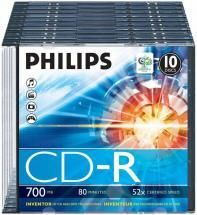 Philips 52x Speed CD-R Blank CDs - Slim Case 10 Pack
