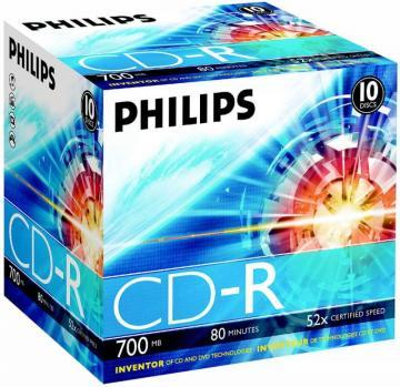 Philips 52x Speed CD-R Blank CDs - Jewel Case 10 Pack