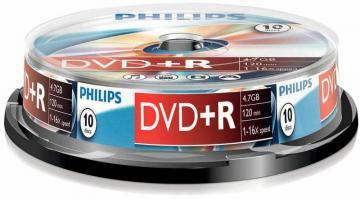 Philips 16x Speed DVD+R Blank DVDs - Spindle 10 Pack