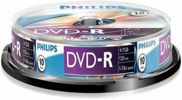 Philips 16x Speed DVD-R Blank DVDs - Spindle 10 Pack