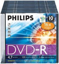 Philips 16x Speed DVD-R Blank DVDs - Slim Case 10 Pack