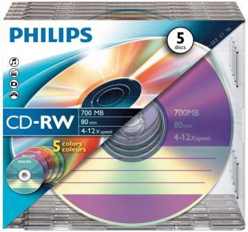 Philips 12x Speed CD-RW Blank CDs 5 Colour - Slim Case 5 Pack