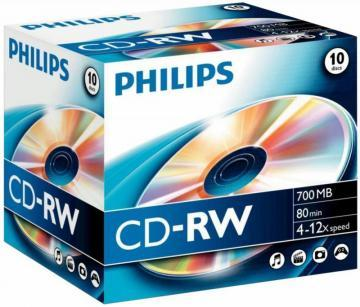 Philips 12x Speed CD-RW Blank CDs - Jewel Case 10 Pack
