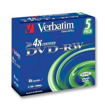 Verbatim 4x DVD-RW Matt Silver Blank DVDs - 5 Pack Jewel Case