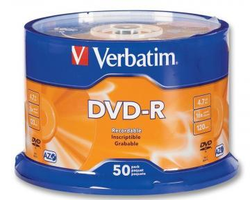 Verbatim 16x DVD-R Matt Silver Blank DVDs - 50 Pack Spindle