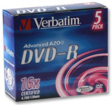 Verbatim 16x DVD-R Matt Silver Blank DVDs - 5 Pack Branded Jewel Case