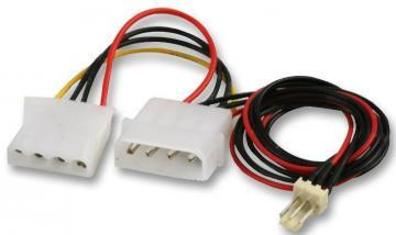 Pro Signal 4 Pin Molex Male to Female Power Extension Lead with Fan Connector, 1