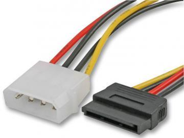 Pro Signal 4 Pin Molex Male to 15 Pin SATA Power Female Lead, 0.2m