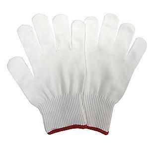 Condor White Knit Gloves, Nylon, Size S, 10 Gauge
