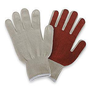 Condor Natural/Rust Knit Gloves, Polyester/Cotton, Size S, 10 Gauge