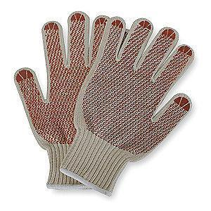 Condor Natural/Rust Knit Gloves, Polyester/Cotton, Size L