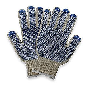 Condor Natural/Blue Knit Gloves, Polyester/Cotton, Size S