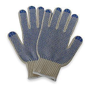 Condor Natural/Blue Ambidextrous Knit Gloves, Polyester/Cotton, Size XL