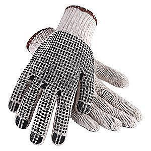 Condor Natural/Black Lightweight Knit Gloves, Polyester/Cotton, Size L