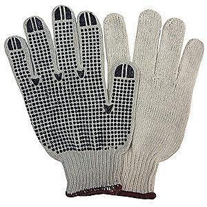 Condor Natural Knit Gloves, Polyester/Cotton/PVC, Size L