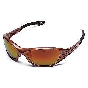 Condor Heat Scratch-Resistant Safety Glasses, Red Mirror Lens Color