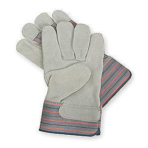 Condor Cowhide Leather Palm Gloves with Safety Cuff, Gray, XS