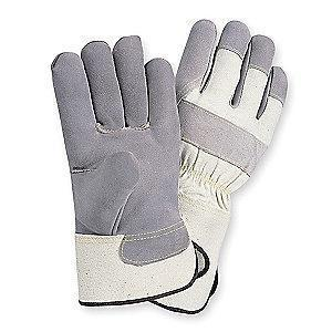 Condor Cowhide Leather Palm Gloves with Safety Cuff, Gray, M