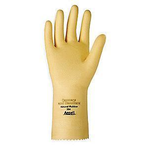 Ansell Chemical Resistant Gloves, Unlined Lining, Yellow, PR 1