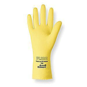 Ansell Chemical Resistant Gloves, Flock Lining, Yellow, PR 1