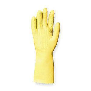 Ansell Chemical Resistant Gloves, Flock Lining, Yellow, PK 12