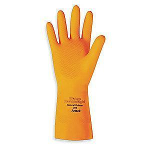 Ansell Chemical Resistant Gloves, Flock Lining, Orange, PR 1