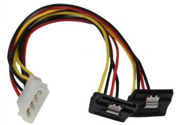 Startech Molex LP4 Male to 2x Right Angled SATA Female Power Lead, 305mm