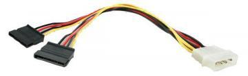Startech LP4 Molex Male to Twin 15 Pin SATA Female Power Lead, 305mm