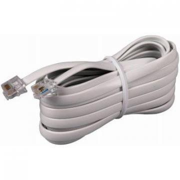 RCA Phone Line Cord, White,  15-Ft.