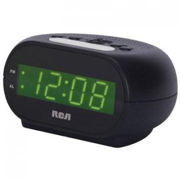 RCA Streamlined Alarm Clock, Green LED
