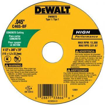 "Dewalt 4.5"" Type 1 Silicon Carbide Cut-Off Wheel, 7/8"" Arbor, 0.045""-Thick"