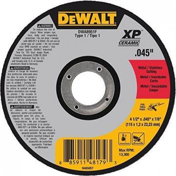 "Dewalt 4.5"" Type 1 Ceramic Cut-Off Wheel, 7/8"" Arbor, 0.045""-Thick"