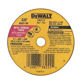 "Dewalt 3"" Type 1 Aluminum Oxide Cut-Off Wheel, 3/8"" Arbor, 0.035""-Thick"